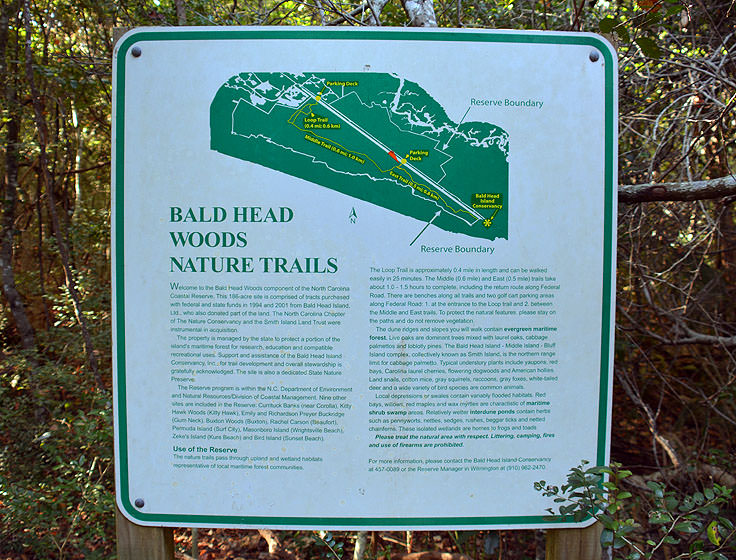 Bald Head Woods trail map
